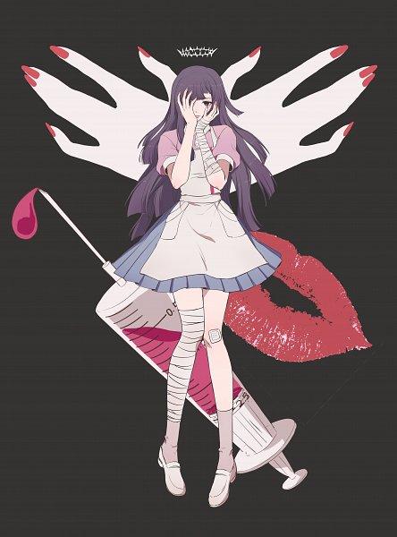 Tags: Anime, Pixiv Id 2284360, Super Danganronpa 2, Tsumiki Mikan, Bandaged Legs, Hand Over One Eye, Syringe, Lipstick Mark, Pixiv, Fanart, Fanart From Pixiv
