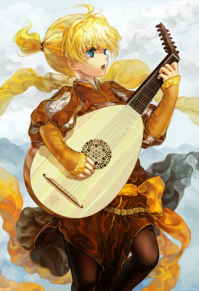 Tags: Anime, Janemere, VOCALOID, Kagamine Len, Lute, Mobile Wallpaper, Tsumugi Uta
