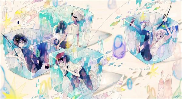 Tags: Anime, Maple (Cyakapon), Tsuritama, Yamada Akira Agarkar, Usami Natsuki, Sanada Yuki, Haru (Tsuritama), Tapioca, Fishing Rod, Ice Cube, Fanart, Facebook Cover, Pixiv