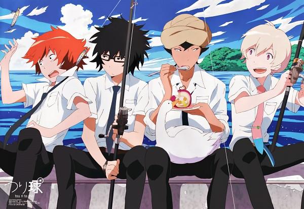 Tags: Anime, Tsuritama, Haru (Tsuritama), Tapioca, Yamada Akira Agarkar, Usami Natsuki, Sanada Yuki, Fishing, Official Art, Magazine (Source), PASH!, Scan, Livejournal