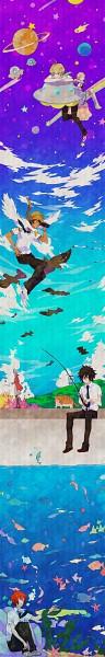 Tags: Anime, Pixiv Id 665922, Tsuritama, Tapioca, Sanada Yuki, Coco (Tsuritama), Haru (Tsuritama), Yamada Akira Agarkar, Kate (Tsuritama), Usami Natsuki, Saturn, Rod, Spaceship