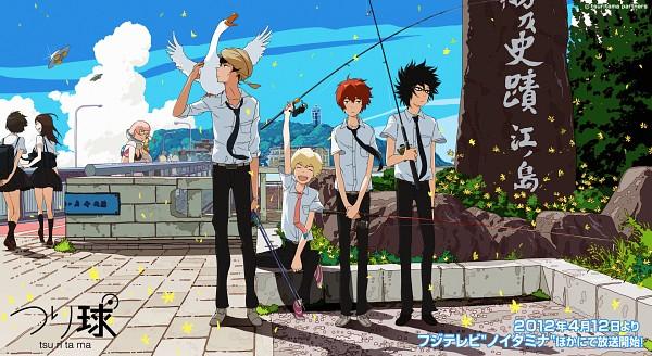 Tags: Anime, Uki Atsuya, Tsuritama, Sanada Yuki, Coco (Tsuritama), Haru (Tsuritama), Yamada Akira Agarkar, Usami Natsuki, Tapioca, UFO, Turnan, Turban, Spaceship