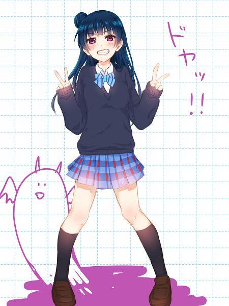 Tags: Anime, Pixiv Id 7094630, Love Live! Sunshine!!, Tsushima Yoshiko, PNG Conversion, Mobile Wallpaper, Yoshiko Tsushima