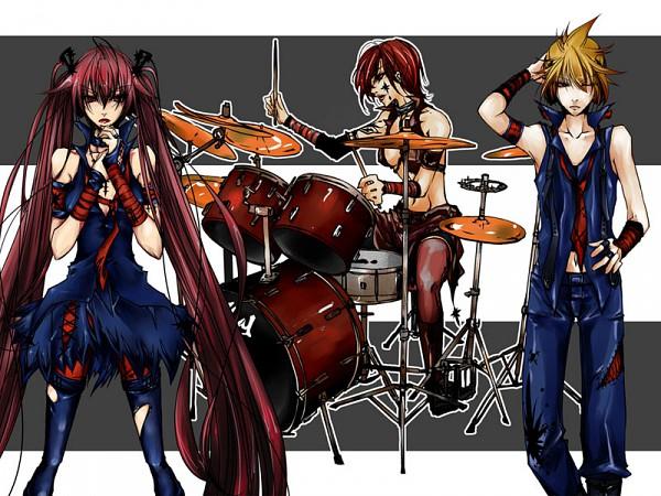Tags: Anime, Riria009, VOCALOID, Hagane Miku, Sakerune Meiko, Magane Len, Pixiv, Fanart, Type-H