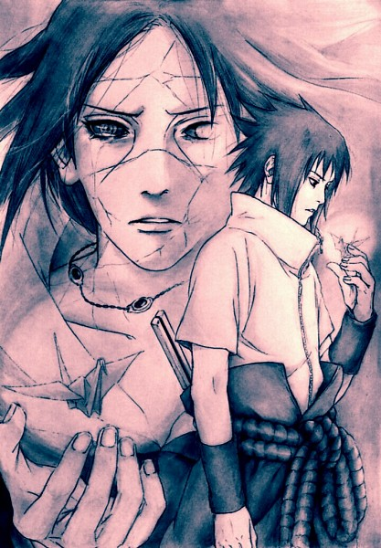 Tags: Anime, hyde (Pixiv1925980), NARUTO, Uchiha Sasuke, Uchiha Itachi, Origami, Crane, Mobile Wallpaper, Uchiha Brothers
