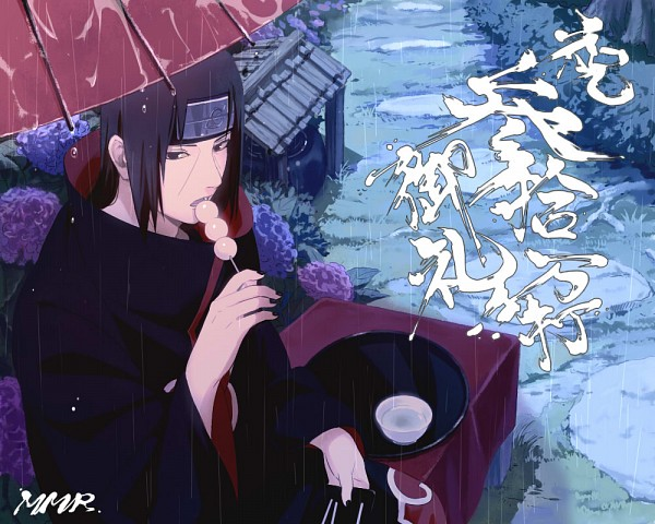 Tags: Anime, Mannmaruu, NARUTO, Uchiha Itachi, Dango, Sitting On Bench, Open Umbrella, 1000x800 Wallpaper, Wallpaper