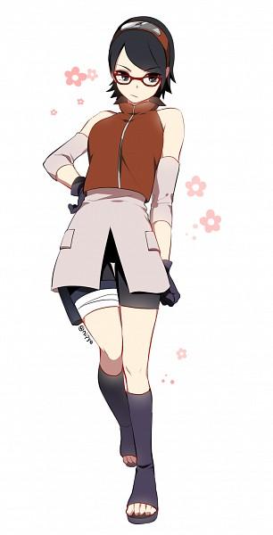 Tags: Anime, Pixiv Id 3536917, BORUTO, NARUTO, Uchiha Sarada, Elbow Pads, Haruno Sakura (Cosplay), Twitter, Fanart, PNG Conversion, Sarada Uchiha