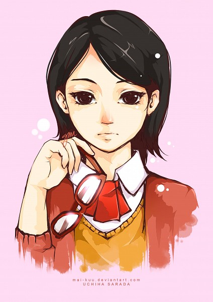 Tags: Anime, Mai-kuu, NARUTO, Uchiha Sarada, Glasses In Hand, Fanart, Fanart From DeviantART, Mobile Wallpaper, PNG Conversion, deviantART, Sarada Uchiha