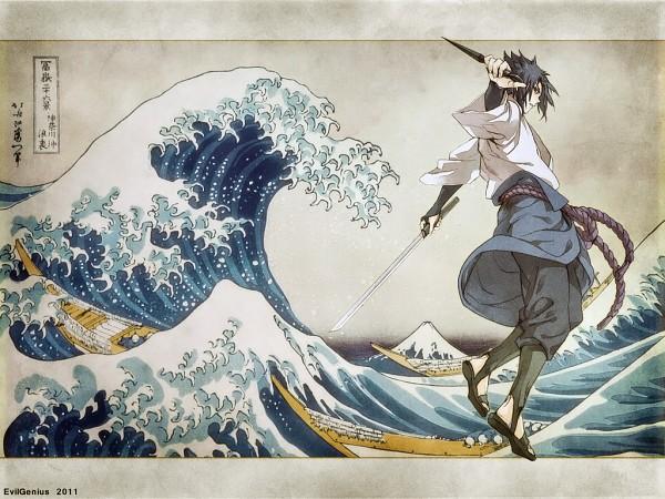 Tags: Anime, NARUTO, Uchiha Sasuke, Nihonga, Mount Fuji, Waves, Artist Request, Wallpaper