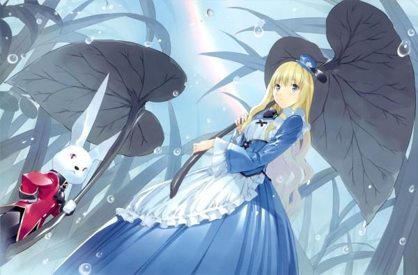 Tags: Anime, Ueda Ryou, Alice in Wonderland, White Rabbit, Alice (Alice in Wonderland), Leaf Umbrella