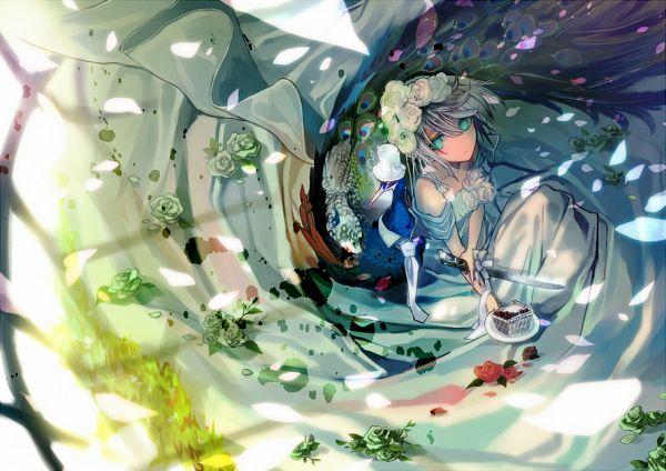 Tags: Anime, Ukai Saki, Green Flower, Peacock, Pixiv, Original