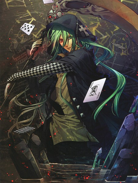 Tags: Anime, Hanamura Mai, IDEA FACTORY, AMNESIA, Ukyo (AMNESIA), Joker Card, Roman Numerals, Joker, Official Art, Scan