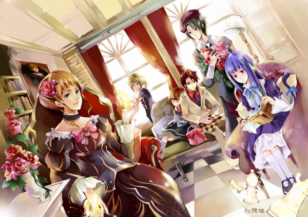 Tags: Anime, 07th Expansion, Umineko no Naku Koro ni, Beatrice, Ushiromiya Jessica, Frederica Bernkastel, Ushiromiya Maria, Ushiromiya Battler, Kanon (Umineko), Chess, When The Seagulls Cry