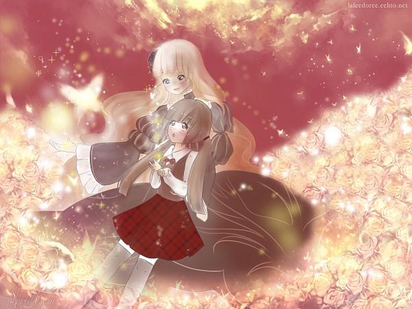 Tags: Anime, Hikari Megami, 07th Expansion, Umineko no Naku Koro ni, Ushiromiya Rosa, Beatrice, Red Sky, Wallpaper, When The Seagulls Cry
