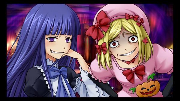 Tags: Anime, 07th Expansion, Umineko no Naku Koro ni, Lambdadelta, Frederica Bernkastel, Troll Face, Wallpaper, CG Art, Facebook Cover, When The Seagulls Cry