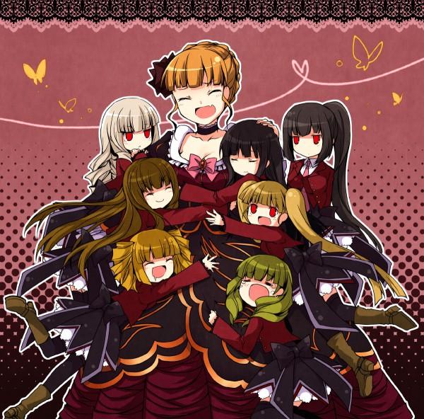 Tags: Anime, Suzushiro Kurumi, 07th Expansion, Umineko no Naku Koro ni, Belphegor (Sister of Purgatory), Leviathan (Sister of Purgatory), Asmodeus (Sister of Purgatory), Lucifer (Sister of Purgatory), Beelzebub (Sister of Purgatory), Beatrice, Mammon (Sister of Purgatory), Satan (Sister of Purgatory), Fanart, When The Seagulls Cry