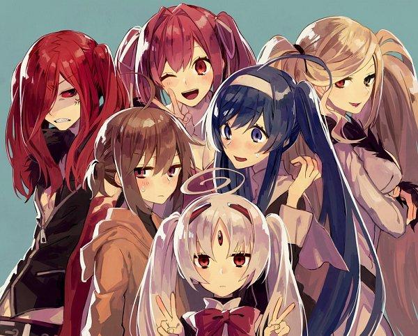 Tags: Anime, Pixiv Id 5969518, Under Night In-Birth, Hilda (Under Night In-Birth), Linne (Under Night In-Birth), Yuzuriha (Under Night In-Birth), Vatista, Orie (Under Night In-Birth), Carmine (Under Night In-Birth), Double V, Twitter, Fanart