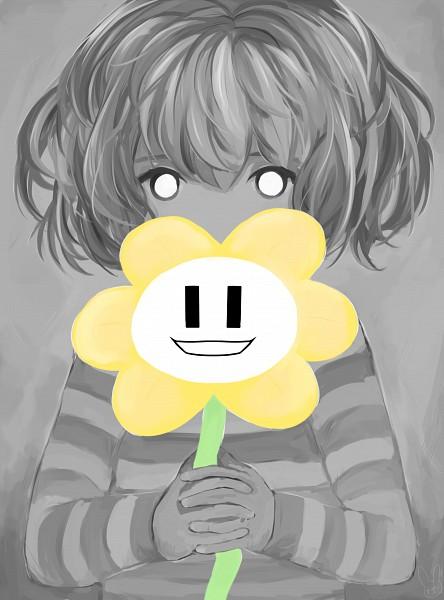 Tags: Anime, Pixiv Id 15849904, Undertale, Flowey, Frisk, Gray, No Nose, PNG Conversion, Pixiv, Mobile Wallpaper, Fanart, Fanart From Pixiv