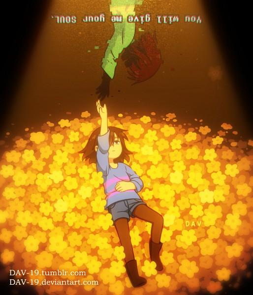 Tags: Anime, DAV-19, Undertale, Chara (Undertale), Flowey, Frisk, Reaching Up, Unnaturally Black Skin, deviantART, Fanart, Fanart From DeviantART