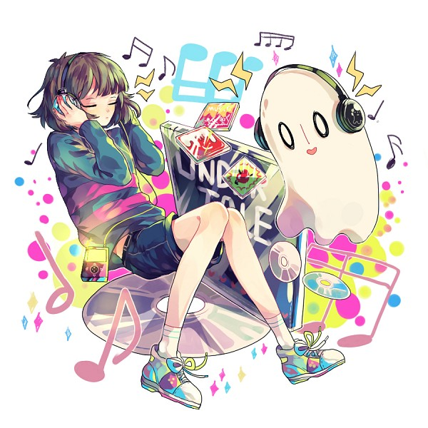 Tags: Anime, Pixiv Id 7998791, Undertale, Napstablook, Frisk, CD (Object), Pixiv, Fanart, Fanart From Pixiv, PNG Conversion