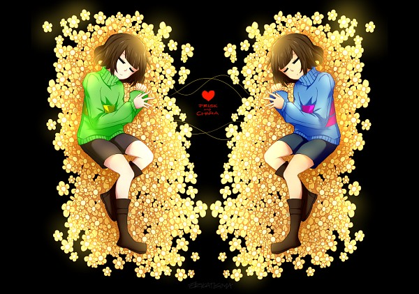 Tags: Anime, Pixiv Id 10191545, Undertale, Frisk, Chara (Undertale), Symmetry, Opposites
