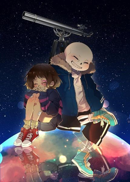 Tags: Anime, Noah (Pixiv2216636), Undertale, Sans, Frisk, Parka, Telescope, Striped Outerwear, Converse, Striped Sweater, Fanart From Pixiv, Fanart, PNG Conversion