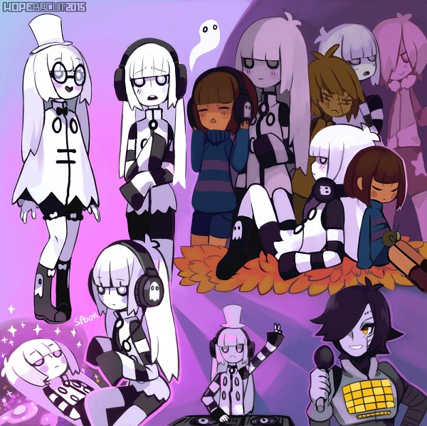 Tags: Anime, Hopebiscuit, Undertale, Napstablook, Frisk, Mettaton, Mad Dummy, Poncho, Disc Jockey, PNG Conversion, Fanart, Tumblr