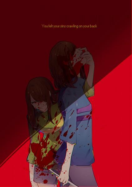Tags: Anime, Pixiv Id 4869278, Undertale, Chara (Undertale), Frisk, Gray Shorts, PNG Conversion, Pixiv, Fanart, Mobile Wallpaper, Fanart From Pixiv