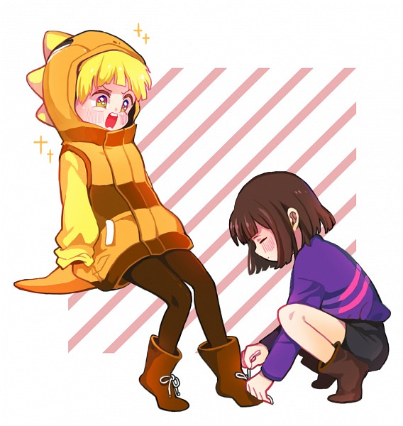 Tags: Anime, Pixiv Id 3317851, Undertale, Monster Kid, Frisk, Pageboy Haircut, No Arms, Brown Legwear, Striped Outerwear, Pixiv, Fanart, Fanart From Pixiv, PNG Conversion