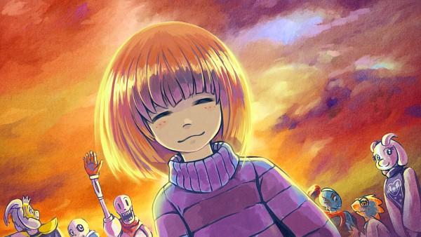 Tags: Anime, Comacoat, Undertale, Frisk, Undyne, Sans, Asgore Dreemurr, Toriel, Papyrus, Alphys, 1600x900 Wallpaper, Striped Outerwear, Striped Sweater