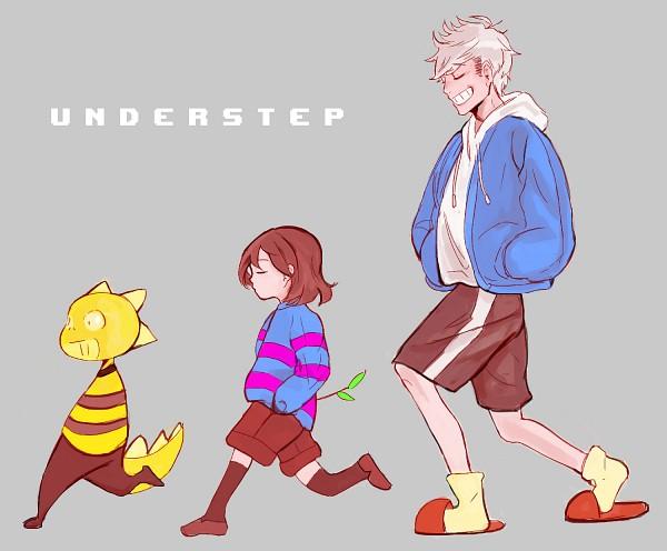 Tags: Anime, Pixiv Id 16778976, Undertale, Frisk, Sans, Monster Kid, Yellow Legwear, Striped Sweater, Striped Outerwear, Brown Shorts, Brown Legwear, Fanart From Pixiv, Pixiv