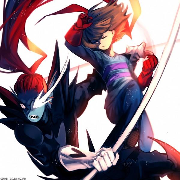 Tags: Anime, Ozumii, Undertale, Undyne, Frisk, Undyne the Undying, Fins, Head Fins, deviantART, Fanart From DeviantART, Fanart, PNG Conversion
