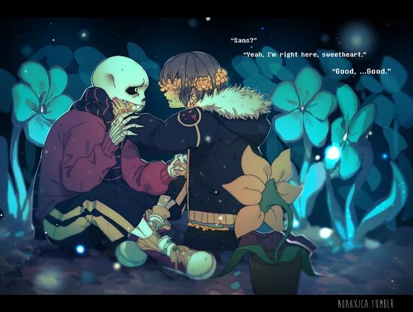 Tags: Anime, Noah (Pixiv2216636), Undertale, Flowey, Frisk, Sans, Gold Tooth, Corsage (Flower Bouquet), Borrowed Clothes, Potted Plant, Parka, Tumblr, Fanart
