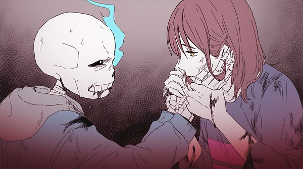 Tags: Anime, Tkdvlf2, Undertale, Sans, Frisk, Striped Sweater, Striped Outerwear, Eyes Half Closed, Skeleton Arm, Holding Wrist, Facebook Cover, PNG Conversion, Twitter