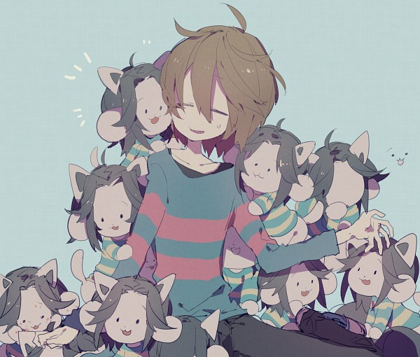 Tags: Anime, higa423, Undertale, Frisk, Temmie, Cheeks Together, Pixiv, Twitter, Fanart, Fanart From Pixiv, PNG Conversion