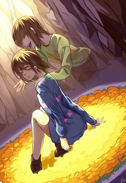 Tags: Anime, Pixiv Id 5751296, Undertale, Chara (Undertale), Frisk, Transparent Body, Fanart From Pixiv, Pixiv, Fanart, Mobile Wallpaper