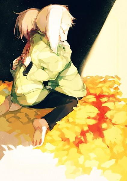 Tags: Anime, Pixiv Id 3323811, Undertale, Asriel Dreemurr, Chara (Undertale), Striped Outerwear, Striped Sweater, Pixiv, Fanart, Mobile Wallpaper, Fanart From Pixiv