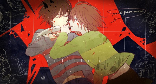 Tags: Anime, Xiaoxue, Undertale, Chara (Undertale), Frisk, Fanart From Pixiv, Facebook Cover, Pixiv, Fanart