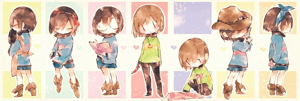 Tags: Anime, Pixiv Id 3323811, Undertale, Chara (Undertale), Frisk, Cooking Pan, Twitter Header, Pixiv