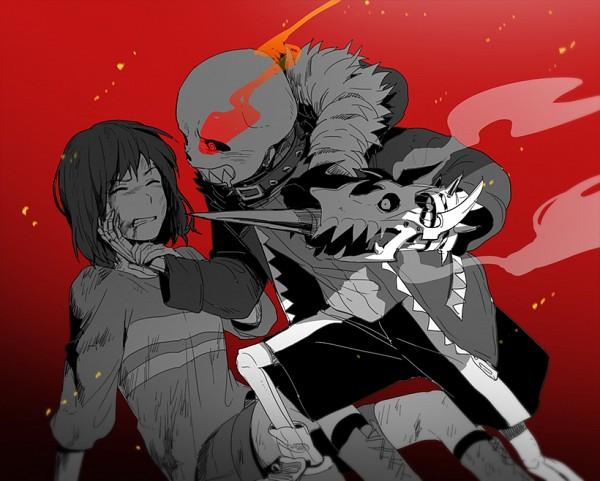 Tags: Anime, Tkdvlf2, Undertale, Frisk, Sans, Holding Wrist, Fiery Eyes, Gritted Teeth, Bruise, Striped Sweater, Striped Outerwear, Parka, Fanart
