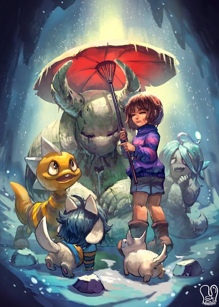 Tags: Anime, Sa-dui, Undertale, Temmie, Monster Kid, Frisk, Shyren, Annoying Dog, Striped Outerwear, Statue, Kneepits, Cave, Striped Sweater