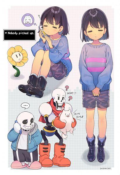 Tags: Anime, Pixiv Id 136696, Undertale, Frisk, Papyrus, Sans, Toriel, Flowey, Annoying Dog, Holding Phone, Fanart, Tumblr, Fanart From Tumblr