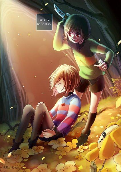 Tags: Anime, Rikkuhanari, Undertale, Frisk, Chara (Undertale), Flowey, deviantART, Fanart, Fanart From DeviantART