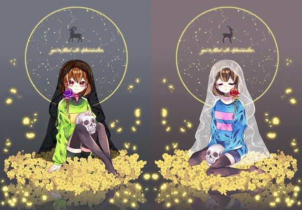 Tags: Anime, NAO (Pixiv2768457), Undertale, Chara (Undertale), Frisk, Pixiv, Fanart, Fanart From Pixiv