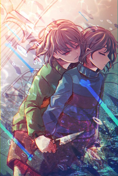 Tags: Anime, Pixiv Id 5510929, Undertale, Chara (Undertale), Frisk, Fanart From Pixiv, Pixiv, Fanart