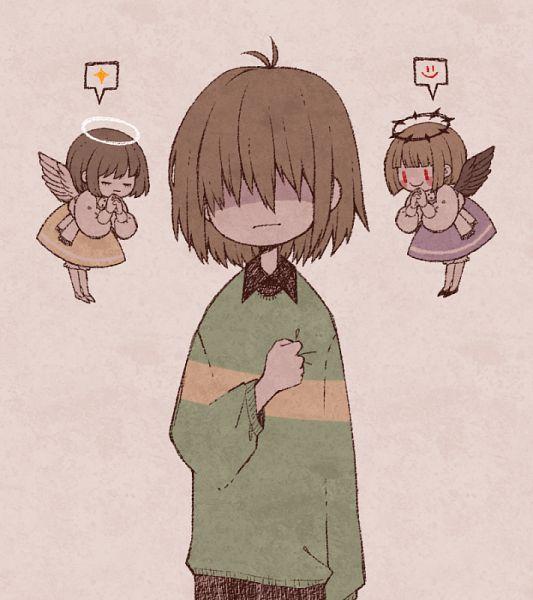 Tags: Anime, ohmyeleanor, Deltarune, Undertale, Kris (Deltarune), Chara (Undertale), Frisk, Fanart From Pixiv, Pixiv, Fanart