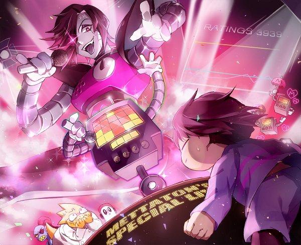 Tags: Anime, Pixiv Id 2817557, Undertale, Undyne, Napstablook, Frisk, Mettaton, Alphys