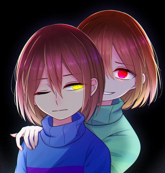 Tags: Anime, Pixiv Id 24070692, Undertale, Chara (Undertale), Frisk