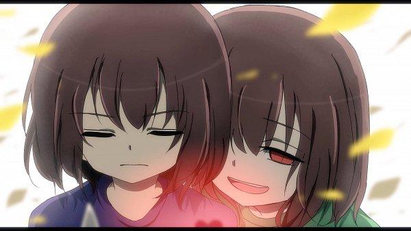Tags: Anime, Pixiv Id 5187648, Undertale, Chara (Undertale), Frisk, Wallpaper