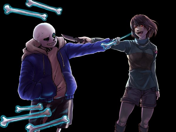 Tags: Anime, Shousan (Hno3syo), Undertale, Sans, Chara (Undertale), Wallpaper